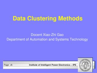 Data Clustering Methods