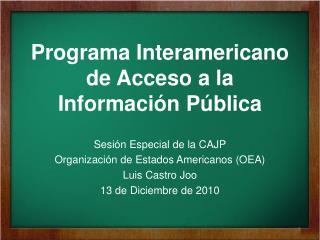 Programa Interamericano de Acceso a la Informaci ón Pública