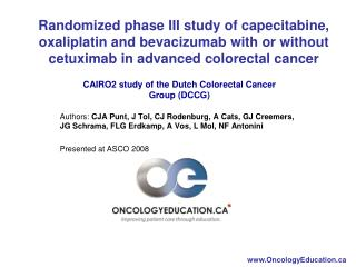 CAIRO2 study of the Dutch Colorectal Cancer Group (DCCG)