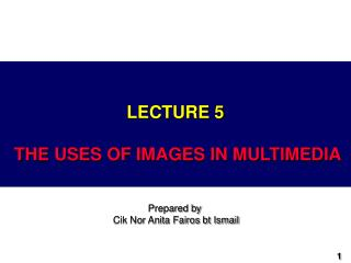 LECTURE 5 THE USES OF IMAGES IN MULTIMEDIA