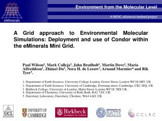 Environment from the Molecular Level A NERC eScience testbed project