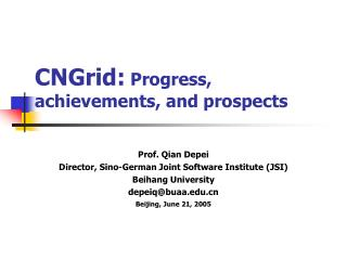CNGrid:  Progress, achievements, and prospects