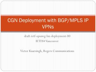 CGN Deployment with BGP/MPLS IP VPNs