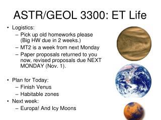 ASTR/GEOL 3300: ET Life