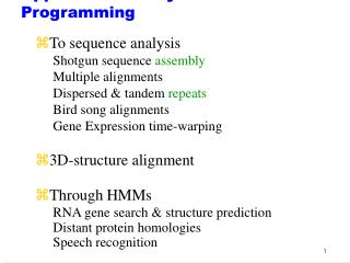 Applications of Dynamic Programming
