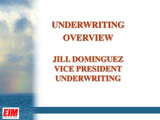 UNDERWRITING OVERVIEW JILL DOMINGUEZ VICE PRESIDENT UNDERWRITING