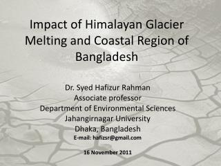 Dr. Syed Hafizur Rahman Associate professor Department of Environmental Sciences