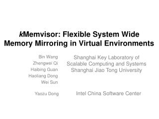 k Memvisor: Flexible System Wide Memory Mirroring in Virtual Environments