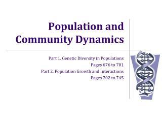 Population and Community Dynamics