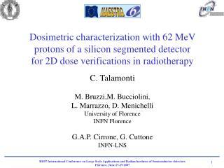 C. Talamonti M. Bruzzi,M. Bucciolini,  L. Marrazzo, D. Menichelli University of Florence