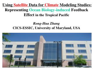 Remote Sensing  for  Ocean -related Climate  Modeling  Studies