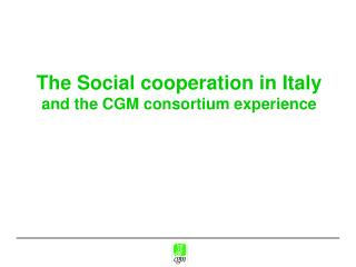 The Social cooperation in Italy  and the CGM consortium experience