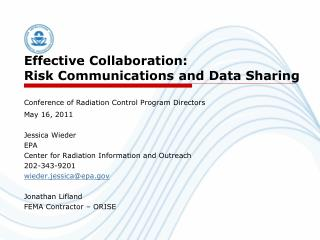 Effective Collaboration:  Risk Communications and Data Sharing