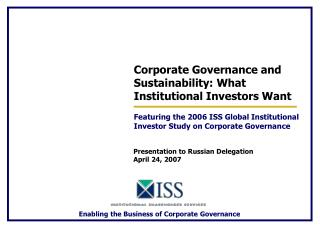 Corporate Governance and Sustainability: What Institutional Investors Want