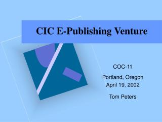 CIC E-Publishing Venture