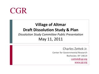 Charles Zettek Jr. Center for Governmental Research Rochester, NY 14614 czettek@cgr