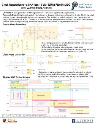 Clock Generation for a SHA-less 10-bit 100Mhz Pipeline ADC Victor Lu, Pingli Huang, Yun Chiu