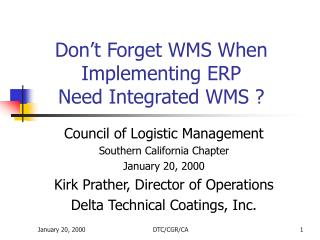 Don't Forget WMS When Implementing ERP Need Integrated WMS ?