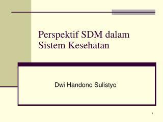 Perspektif SDM dalam Sistem Kesehatan