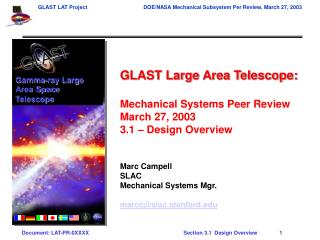 GLAST Large Area Telescope: Mechanical Systems Peer Review March 27, 2003 3.1 – Design Overview