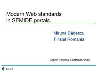 Modern Web standards  in SEMIDE portals