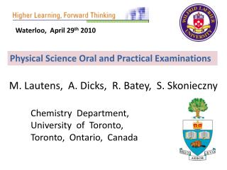 Physical Science Oral and Practical Examinations