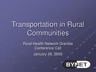 Transportation in Rural Communities