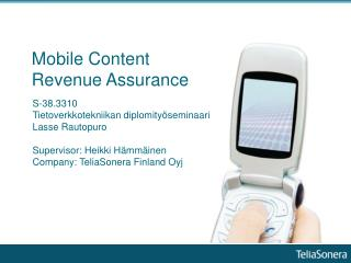 Mobile Content Revenue Assurance