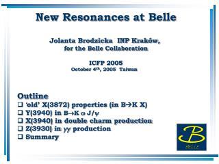 New Resonances at Belle Jolanta Brodzicka  INP Kraków,  for the Belle Collaboration ICFP 2005