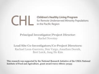 Principal Investigator/Project Director :  Rachel Novotny