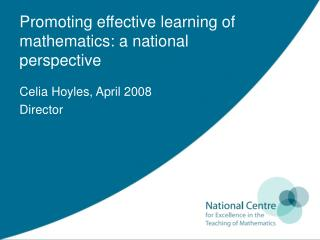 Promoting effective learning of mathematics: a national perspective
