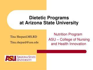 Dietetic Programs at Arizona State University