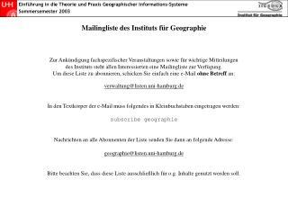 Mailingliste des Instituts für Geographie