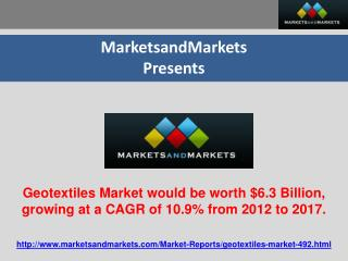Geotextiles Market would be worth $6.3 Billion by 2017.