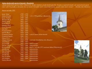 Jména duchovních správců farnosti vBeneticích