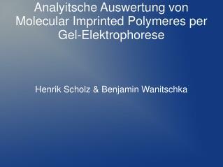 Analyitsche Auswertung von Molecular Imprinted Polymeres per Gel-Elektrophorese