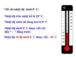 * Để chỉ nhiệt độ  dưới 0° C:
