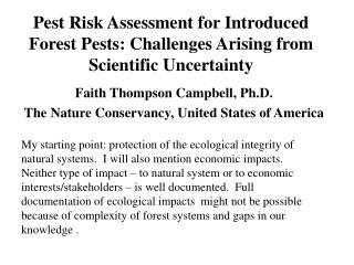 Pest Risk Assessment for Introduced Forest Pests: Challenges Arising from Scientific Uncertainty