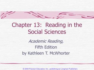 Chapter 13:  Reading in the Social Sciences