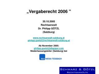 """"""" Vergaberecht 2006"""