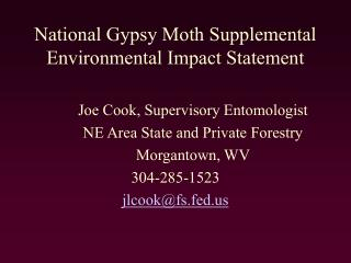 National Gypsy Moth Supplemental Environmental Impact Statement