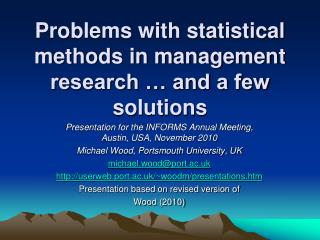 Problems with statistical methods in management research … and a few solutions