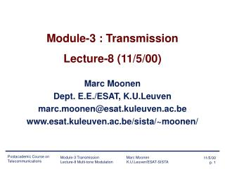 Module-3 : Transmission Lecture-8 (11/5/00)