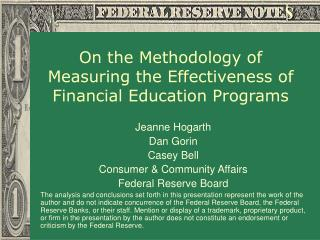 On the Methodology of Measuring the Effectiveness of Financial Education Programs