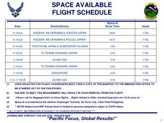 SPACE AVAILABLE FLIGHT SCHEDULE