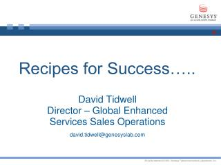 Recipes for Success…..