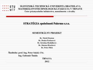 SEMESTRÁLNY PROJEKT Bc. Matúš Demian Bc. Denisa Farkasová Bc. Kristína Hodulíková