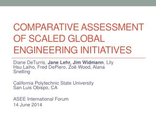 Comparative Assessment of scaled global engineering initiatives