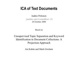 ICA of Text Documents