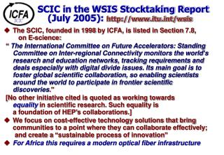 SCIC in the WSIS Stocktaking Report (July 2005):  itut/wsis